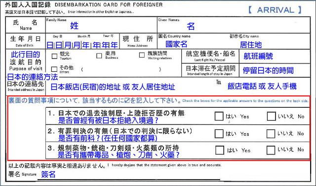 外國人入境記錄卡